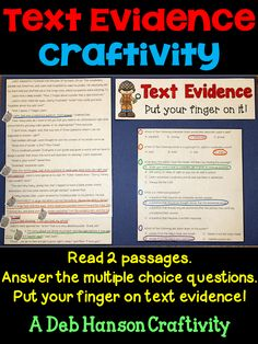 Searching for Text Evidence: A Craftivity!  The answer and its text evidence is color-coded so it matches. This craftivity includes two passages- one fiction and one nonfiction. Great for test prep, but it can be used anytime during the year!