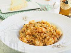 Risotto de gambas y calabacín - Paso 9 Arroz Risotto, Tofu, Quinoa, Ethnic Recipes, Pasta, Risotto, Gourmet, Vegetable Stock, Ethnic Food