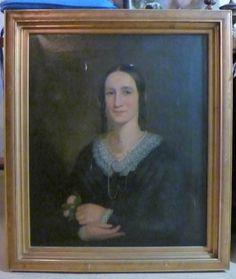 "Antique 1840s Victorian Oil Portrait Lady Holding Rose 25""x30"" w Gilt Frame | eBay"