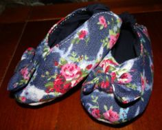 Baby Girl Handmade Sewn Boutqiue Denim Flower Shoes Booties Size 3 | eBay