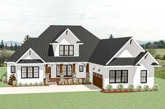 A covered entry porch with a large gable centered above and a courtyard-entry garage greet you to this country Craftsman house plan. Garage House Plans, Craftsman House Plans, Bedroom House Plans, New House Plans, Dream House Plans, House Floor Plans, Open Floor Plan Homes, House With Garage, Rambler House Plans