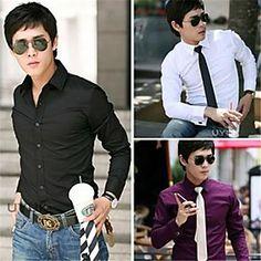 Men's Shirt Business Dress Shirt Leisure Pure Color Long Sleeve  Men's Top