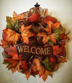 Fall welcome deco mesh wreath
