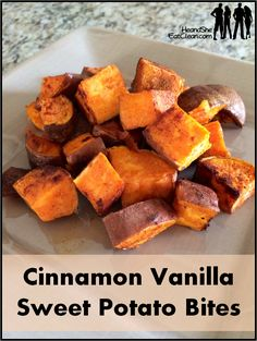 Cinnamon Vanilla Sweet Potato Bites You can never have too many sweet potato recipes! Try these Cinnamon Vanilla Sweet Potato Bites.they are perfect for breakfast or dinner! Find more healthy recipes on . Clean Recipes, Diet Recipes, Cooking Recipes, Healthy Recipes, Sweet Potato Recipes Healthy, Healthy Mashed Sweet Potatoes, Sweet Potatoes For Breakfast, Clean Eating Recipes For Dinner, Clean Foods