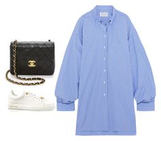 A fashion look from October 2017 featuring blue shirt dress, calfskin shoes and kiss-lock handbags. Browse and shop related looks. Outfits 2016, Weekly Outfits, Kpop Fashion Outfits, Sporty Outfits, Tomboy Fashion, Korean Outfits, Classy Outfits, Stylish Outfits, Fashion Capsule