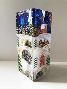 """Items similar to Glass Vase """"Snow Forest"""", Tall Vase, Glass Painting, Cozy Home Decor, Candle Holder on Etsy Painting Glass Jars, Painted Glass Vases, Glass Painting Designs, Bottle Painting, Glass Art, Wine Bottle Art, Glass Bottle Crafts, Ikea Art, Craft Show Booths"""