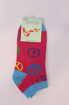 Womens Eros Low Cut Peace Sign Socks. Sz. 9-11 Novelty Socks. NWT #Eros #LowCut