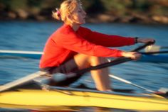 Woman rowing in blur motion, Christine Collins Smith, 1996 silver medal in lightweight women's double, 1996 Olympics. http://www.discoverlakelanier.com