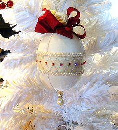 Vintage Victorian Style Christmas Ornament Egg w/ Pearls & Swarovski Crystals by HolidayCrystals, $27.99
