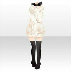 Anime outfit design sweater with high black socks