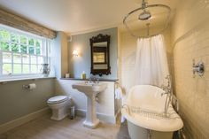 Devonshire Arms Exclusive Cottage #devonshirearms #cottage #exclusivecottage #devonshire #hotel #boltonabbey Luxury Cottages, Yorkshire Dales, Hotel, Corner Bathtub, Corner Tub