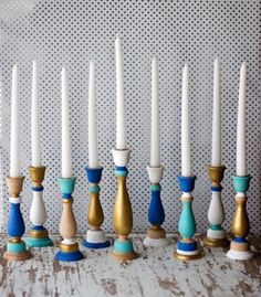 Make or buy a menorah with separate candlesticks for easy storage. | 21 Ways To Decorate A Small Space For The Holidays