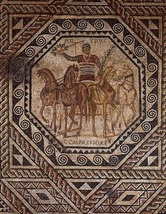 Charioteer named Polydus, Roman mosaic, 3rd century AD, (Rheinisches Landesmuseum, Trier).