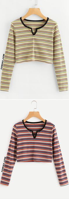 V Cut Neck Striped Crop Tee