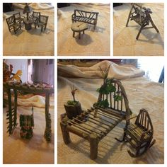DIY fairy furniture, simple, I made these myself. DIY fairy furniture, simple, I made these myself. Mini Fairy Garden, Fairy Garden Houses, Fairies Garden, Garden Ideas Homemade, Fairy Garden Furniture, Garden Beds, Fairy Village, Fairy Crafts, Ideias Diy