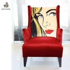 Look what's just been shipped to its new home in this striking, custom made Vogue chair with pop art and beautiful red velvet. Our customer created and ordered it all online. Makes a fabulous unique accent chair, don't you think? Funky Painted Furniture, Paint Furniture, Upholstered Furniture, Furniture Makeover, Cool Furniture, Funky Chairs, Modern Chairs, Red Velvet Chair, Red Accent Chair
