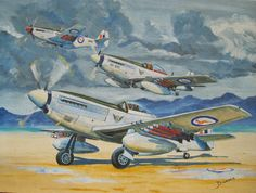 Korean War - F South African Air Force Mustangs from 2 Squadron take off. Acrylic on canvass by Derrick Dickens, part of his Korean War collection. Aviation Theme, Aviation Art, South African Air Force, Aircraft Painting, P51 Mustang, Korean War, Military Art, North Africa, Box Art