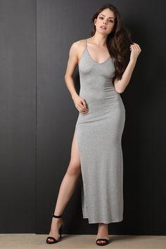 f7cfea9df9 Mrs. Cross Back Side Slit Maxi Dress