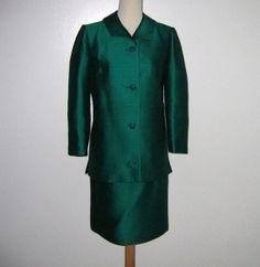 Emerald Green Silk Suit By Woolf Brothers
