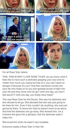 I love rose Tyler. Doctor who. Rose and the doctor. Doomsday doctor who. I love rose Tyler. Doctor who. Rose and the doctor. Doomsday doctor who. Décimo Doctor, Doctor Love, Rose And The Doctor, Doctor Funny, Eleventh Doctor, Doctor Who Rose Tyler, Bad Wolf Doctor Who, Paul Rudd, Billie Piper
