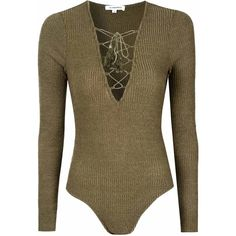Khaki Knitted Lace Up Body ($26) ❤ liked on Polyvore featuring intimates, shapewear, bodysuit, tops and khaki