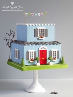 New Home Cake - Cake Decorating Writing Ideen Fondant Cake Designs, Fondant Cakes, Cupcake Cakes, Cupcakes, Wilton Cake Decorating, Beautiful Cake Designs, Beautiful Cakes, Housewarming Cake, Building Cake