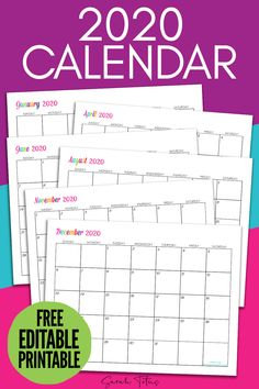 Grab this free printable 2020 calendar to help you stay organized this year! Keep track of birthdays, doctors appointments, school schedules and all you important dates! Just print off this free calendar and start organizing your schedule! Printable Blank Calendar, Monthly Calendar Template, Monthly Planner Printable, Monthly Calendars, Weekly Planner, Free Calendars, Monthly Budget, Free Planner, Weekly Menu