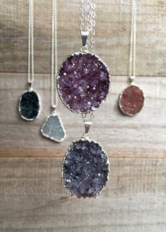 YOUR CHOICE! Large Druzy Necklace Drusy Quartz Sterling by julianneblumlo