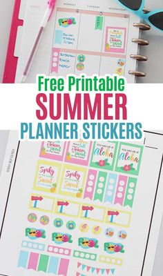 Free printable summer planner stickers fits the Happy Planner, Erin Condren, and more. Use your Cricut to make these cute planner stickers. Includes free printable quote stickers and more! Summer Planner, Cute Planner, Planner Tips, Happy Planner, Free Printable Quotes, Free Printable Calendar, Printable Planner Stickers, Free Printables, Summer Fun For Kids
