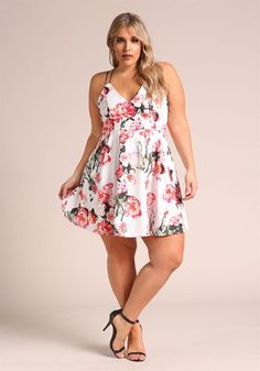 Plus Size Clothing | Plus Size Rose Double Strap Flared Dress | Debshops