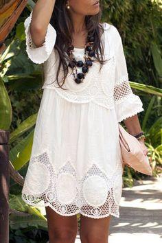 Hollow White 3/4 Sleeve Dress
