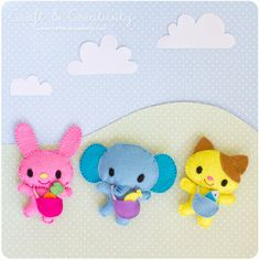 Free Cute Kawaii Felt Toy Animals Sewing Pattern / Template