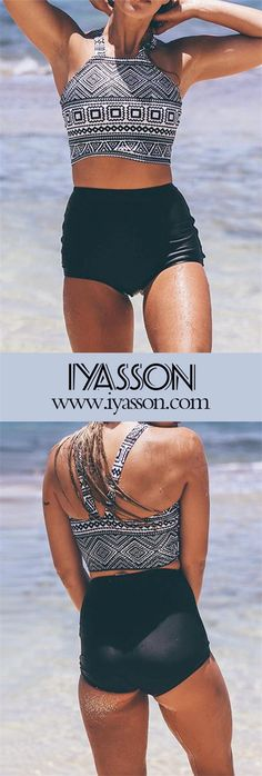 It is a boho swimsuit with high-waisted bikini bottom.Wear this and you will stand out from the crowd.