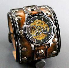 Wide Leather Cuff Watch Steampunk Watch by CuckooNestArtStudio