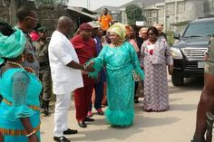 Former first lady Dame Patience Ebele Jonathan looked radiant today as she arrived the venue of Dokube Peri-ti festival celebration in George Town Okrika LGA Rivers state. More photos after the cut...