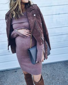 Suede jacket and sweater dress for mommy to be. #streetfashion #pregnant #pregnancystyle #sweater #sweaterdress #suedejacket #leatherjacket #fabfashionfix