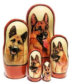 Intelligent and courageous breed of German shepherds has the dogs portraits professionally hand painted on a set of 5 piece Russian nesting dolls. Russian Babushka, Animal Portraits, German Shepherds, Scooby Doo, Nest, Hand Painted, Dolls, Floral, Animals