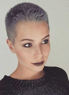 Wanna spice up your hair with a different hair color? We are here to show you These Days Most Popular Short Grey Hair Ideas that can inspire you to update. Buzz Cut Hairstyles, Short Pixie Haircuts, Short Hairstyles For Women, Trending Hairstyles, Grey Haircuts, Short Grey Hair, Very Short Hair, Long Hair, Super Short Hair Cuts