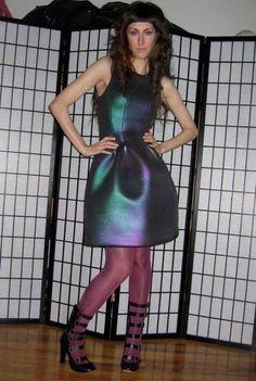 iridescent neoprene dress cynthia rowley, chloe heels