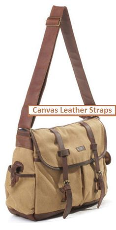 Large #Mens Waxed Canvas & Leather #Messenger Bag