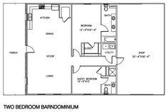 Best 2 Bedroom 2 Bath Barndominium Floor Plan For 30 Foot Wide 400 x 300