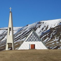 Eight of the most majestic Modernist-influenced churches in Iceland: Stóra-Dalskirkja by Ragnar Emilsson, Photo by Jóna Þórunn Sacred Architecture, Church Architecture, Religious Architecture, Architecture Design, Grand Canyon, Northern Lights Iceland, Modern Church, Take Me To Church, Old Churches