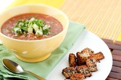 A heavily flavored cold soup that's light on the tummy, easy to prepare, and contributes to 4 of your daily required veggies!