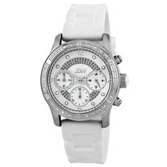 JBW Women's JB-6243-C Venus Sport White Designer Silicone Diamond Watch Highest standard Quartz chronograph movement. Three functional chronograph sub dials; Silver hour and minute hands. .24 ctw of diamonds around the bezel. White trendy silicone band with buckle. Water-resistant to 330 feet (100 M).  #JBW #Watch