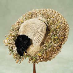 Theriault's Antique Doll Auctions -French Wide-Brimmed Straw Bonnet - circa 1890