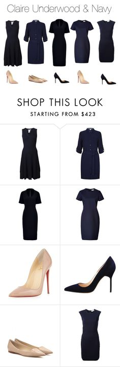 """Claire Underwood & Navy"" by oliviapope411 ❤ liked on Polyvore featuring Oscar de la Renta, Diane Von Furstenberg, Piazza Sempione, Jil Sander, Christian Louboutin, Manolo Blahnik, Jimmy Choo and LIL pour l'autre"