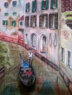 Rosângela Vig Arte com lápis e em telas : Ponte em Veneza, grafite e lápis de cor
