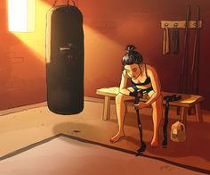 personal illustrations and paintings by yaoyao ma van as Kickboxing, Girl Cartoon, Cartoon Art, Cartoon Ideas, Karate, Art Sketches, Art Drawings, Boxing Girl, Boxing Boxing