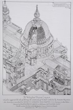 Isometric Projection of St.Pauls Cathedral, V&A collection. via an article by Colleen Morgan on Isometric Drawing in Archaeology