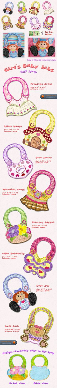 completely in the hoop baby bibs Machine Embroidery Projects, Machine Embroidery Applique, Applique Patterns, Cross Stitch Embroidery, Sewing Patterns, Baby Sewing, Baby Bibs, Sewing Projects, Quilts